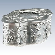 Art Nouveau Silver Trinket Box, Chester 1899, William Neale