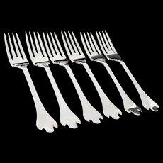 6 Trefid Top Silver Dessert Forks, Sheffield 1937, Francis Howard Ltd
