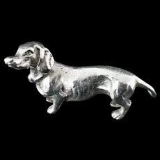 Solid Silver Dachshund Dog Model, Nathan & Hayes, Chester c.1900