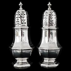 Pair Britannia Silver Casters CRESTED, London 1721, Samuel Welder