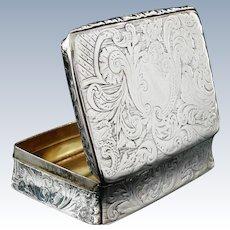 Antique Silver Snuff Box, Joseph Willmore, Birmingham 1839