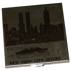 Vintage New York Skyline Ladies Powder Compact by Pilcher