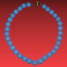 Vintage Heavy Blue Glass Beaded Choker Necklace