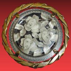 Vintage Carved Floral Roses Lucite Pin Brooch