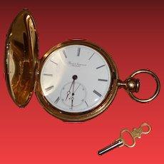 "Antique 18k Gold ""Borel & Couvoisier Neuchatel"" Pocket Watch w/ Key"