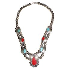 Vintage Native American Sterling Silver Necklace with Coral and Turquoise
