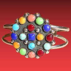 Vintage Sterling Silver Multicolored Gemstone Cuff Bracelet