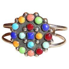 Vintage Sterling Silver Multicolored Gemstone Cuff Bracelet