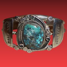 Vintage Native American Sterling Silver Cuff Bracelet w/ Turquoise