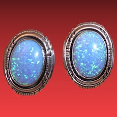 Vintage Sterling Silver and Opal Pierced Earrings Signed