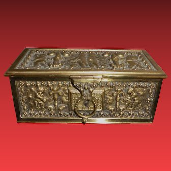 Antique Heavy Ornate Cherubs Brass Box Satin Lined