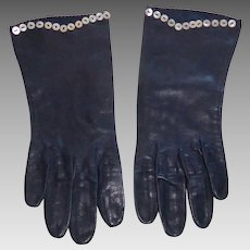 Vintage Navy Blue Leather Ladies Gloves with Mother of Pearl Buttons