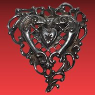 Vintage Signed Hobe Sterling Heart Brooch Pin