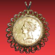 Antique 1894 US Gold Coin Pendant