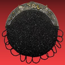 Antique Beaded Purse with Ornate Frame