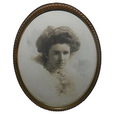 Antique Photo Portrait of Victorian Lady in Antique Frame