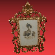Antique Signed Photo Portrait of Victorian Lady in Antique Ornate Frame