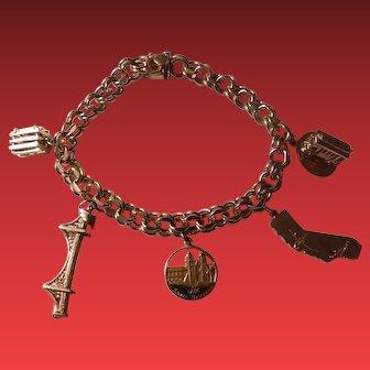 Vintage 14kt Gold Charm Bracelet with Charms