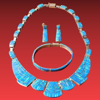 Vintage Mexican Sterling Silver Opal Inlaid Necklace Bracelet and Earring Set