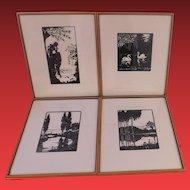 Vintage Set of 4 Framed Silhouettes
