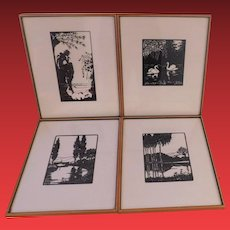 Vintage Set of 4 Framed Silhouettes
