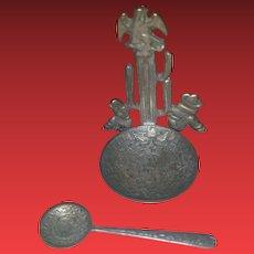 Vintage Mexican Sterling Silver Salt Cellar w/ Salt Spoon