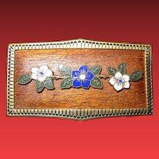 Antique Floral Enameled Unique Pin