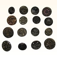 Buttons 16 Old Metal  Four Paris Backs