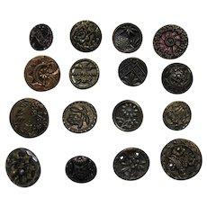 Buttons 16 Old Metal  Four Paris Backs