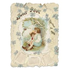 1900 Sweet Rest Embossed Calendar 4 Panels Children
