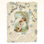 1900 Sweet Rest Embossed Calendar 4 Panels Children