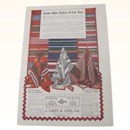 1910 Genuine Indian Blankets Magazine Advertisement