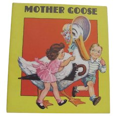 1939 Mother Goose Children's Book Soft Cover Dust Jacket