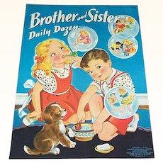 1940 Brother & Sister Daily Dozen Children's Book