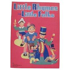 1940 Little Rhymes For Little Folks Children's Book