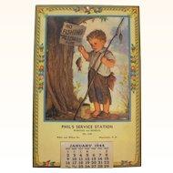 1944 Phil's Service Station Calendar Manchester NH
