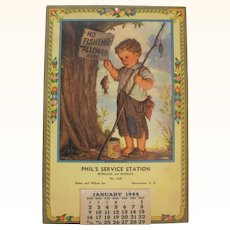 1944 Phil's Service Station Calendar Manchester NH