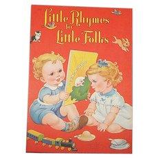 1949 Little Rhymes For Little Folks Children's Book