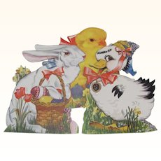 Three Easter Rabbit Duck Chick Self Standing Die-Cuts