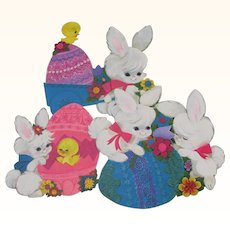 Three Small Easter Hallmark Decorations Bunny Chick