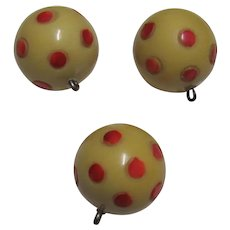 Vintage Three Polka Dot Round Buttons