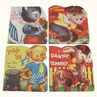 4 Small 1949 Children's Books Puppy Kitten Pig Donkey