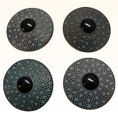 Four Glass Buttons Vintage Black Bulls Eye Center