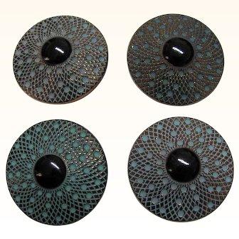 Four Glass Buttons Vintage Black Bulls Eye Center