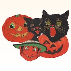 5 Small Halloween JOL'S Black Cat Face Witch Face
