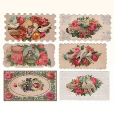 Six Die-Cut Calling Cards With Doves Hands, Children & Roses #2