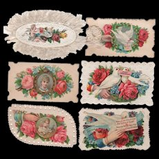 Six Die-Cut Calling Cards With Doves Hands, Children & Roses #3
