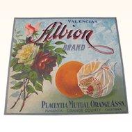 Orange Crate Label Albion Orange County, CA