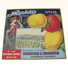 Apple Crate Label Appleton Watsonville, CA
