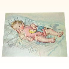 Print Baby Girl Sleeping With Her Doll by Maud Tousey Fangel